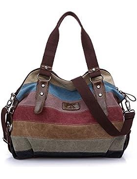 Baishilin Multi-Color-Striped Damen Handtasche / Umhängetasche Canvas Shopper Tasche Vintage Hobo Bags