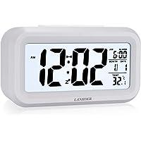 Réveil numérique à piles - Grand écran lumineux - Affichage de la date, calendrier, température 12/24 heures - Fonction…
