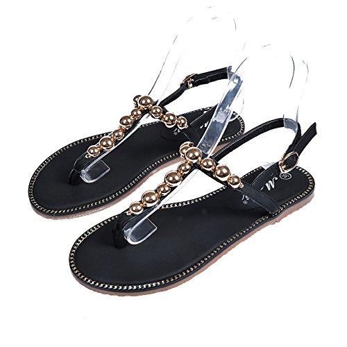 Flache Bottom Sandalen modische flache Bottom Sandalen koreanischen Stil Metall dekorative Strand Schuhe Black