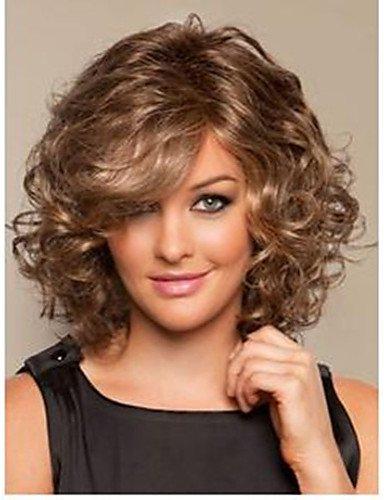 BBDM lumière brun mix volume complet boucles synthétique perruque de cheveux moyen de fibres résistant à la chaleur expédition rapide