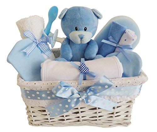 Angel en osier blanc bleu bébé Panier Cadeau/Panier/Baby Pour Bébé Douche cadeau souvenir de bébé/New (Cesti Bambino Di Vimini)