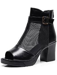 YORWOR Verano Zapatillas de Malla Moda Sandalias Botines Peep-Toe Abierto Low Boots Mujer Cremallera Talón Tacón Ancho Alto 7 CM