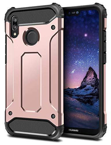 Huawei P20 Lite Hülle Schwarz,360 Grad Outdoor Handyhülle Slim Armor Dual Layer Schutzhülle Hybrid Silikon TPU Case + Hard PC Bumper Hülle for Huawei P20 /P20 Pro Hülle (Huawei P20 Lite, Roségold) -