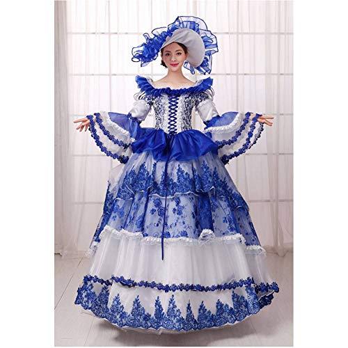 QAQBDBCKL Blau mit weißen königlichen Kleid Vintage Frauen Renaissance Marie Antoinette Rokoko Barock Cosplay Kostüm Kleid mit Hut (Marie Antoinette Sexy Kostüm)