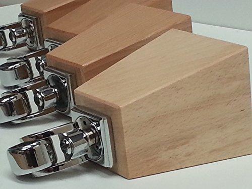 4x Holz Füße Ersatz Möbel chrom Beine mit Rollen 165mm Höhe für Sofas, Stühle, Hocker Sofa M8(8mm)