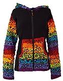 Guru-Shop Patchwork Jacke mit Zipfelkapuze 2, Damen, Schwarz, Baumwolle, Size:M/L (40), Boho Jacken, Westen Alternative Bekleidung