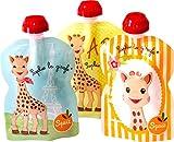 SQUIZ - 3er Pack wiederverwendbare Quetschbeutel 90ml 'Sophie la Girafe' Made in Switzerland, garantiert BPA, PVC und Phthalate-frei