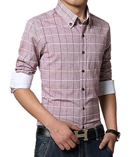 DD UP Herren Baumwolle Slim Business Plaid Okoberfest Kariert Langarm Hemden Shirts Red