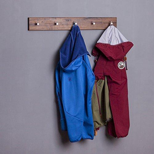 Wandgarderobe aus Holz | handgefertigt in Bayern | Garderobenpaneel Garderobenleiste Hakenleiste Garderobe-Holz | Handtuchhalter | Massiv-Holz | Nussbaumholz 70cm 5 Haken