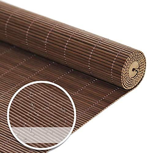 ACZZ Persianas enrollables Exterior del pasillo del jardín, Cortina de bambú impermeable de estilo japonés con gancho, 100 cm / 120 cm / 140 cm de ancho,estilo 3,W140 × H170cm