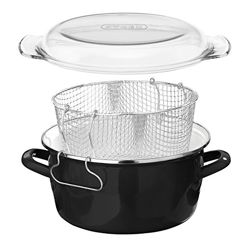 Premier Housewares 5L Deep Fat Fryer Enamel Chip Pan Fryer Glass Lid Chip Fryer Deep Frying Pan Black Deep Fryers Fryer…