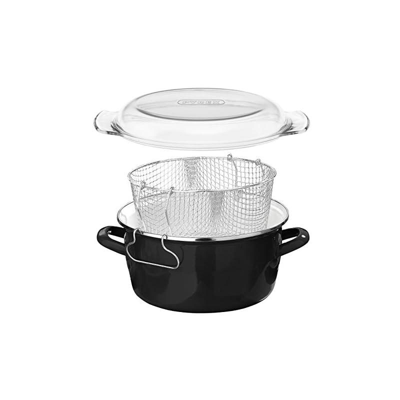 Premier Housewares 5L Deep Fat Fryer Enamel Chip Pan Fryer Glass Lid Chip Fryer Deep Frying Pan Black Deep Fryers Fryer…