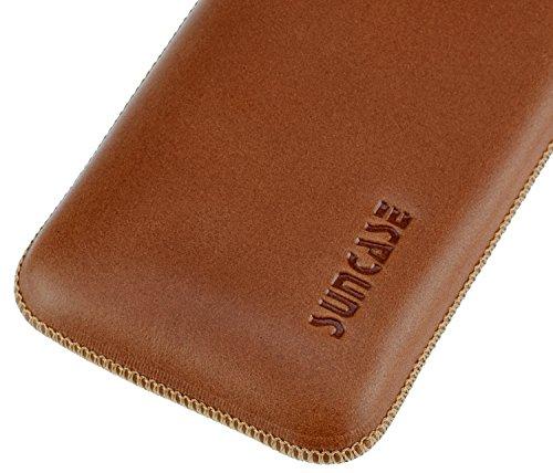 iPhone SE   Original Suncase Tasche Leder Etui Handytasche Ledertasche Schutzhülle Case Hülle *mit Rückzuglasche* cognac cognac