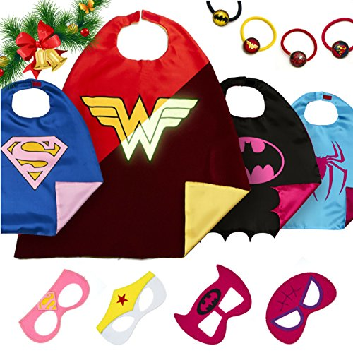 LAEGENDARY Superhelden Kostüme für Kinder - 4 Capes und Masken - Kinderspielzeug für Weihnachte- Im Dunkeln Leuchtendes Wonder Woman Logo - Mädchen Spielzeug - Karneval Fasching (Kostüme Halloween Jährigen 10)