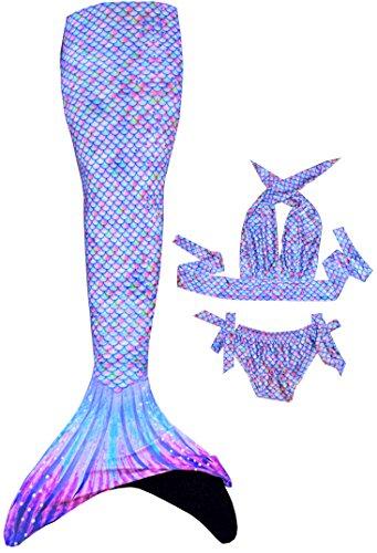 auen Flosse mit Überzug und Bikini zum Schwimmen (Magic Rose, S (130 - 145 cm)) (Billig Meerjungfrau Kostüme)