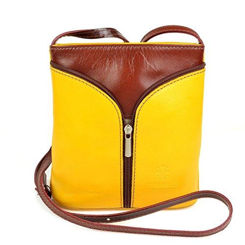 2a4d5ae941606 Vera Pelle Handtaschen Italien Echt Leder Schultertasche Frauen Damen  Tasche Handtasche Ital Bag Gelb Braun Plain