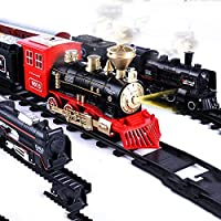Shenco Kids Boys and Girls Express Train Toy Set with Locomotive Engine Light , Cargo Car and Tracks, Battery Powered, 3…