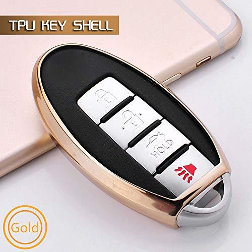 SUNQQB Auto TPU softkey Abdeckung Fall Fernbedienung smart Key Shell Set für Nissan Qashqai j10 j11 x-Trail t31 t32 räuber tiida Pathfinder Murano,A,Gold