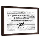 Feeby Wanddeko Brauner Rahmen Zitat Kunstdruck Slogan Hund Spruch Grau 60x40 cm