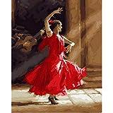 WYTTT Pittura By Numbers Numero Decorazione della Parete Fai da Te Immagine Pittura Ad Olio su Tela per La Decorazione Domestica Danzatore in Abito Rosso 16X20 in Frameless