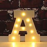 Letter Alphabet, VSOAIR Dekorative Oben in Lichter Hölzerner Alphabet-Buchstabe Warmes Weißes MDF, mit batteriebetriebenem LED-Lichter, Buchstabe (A)
