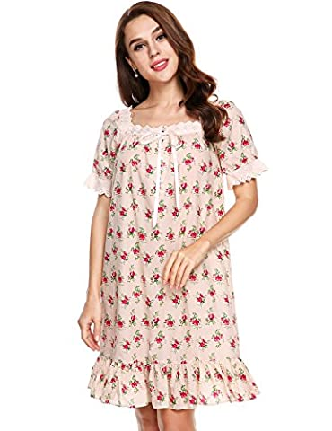 Ladies Nightgown Lace Cotton Nightdress Embroider Nightie Sleepwear with Buttons (Size M---UK 12-14---EU 40-42, Pink With Flowers