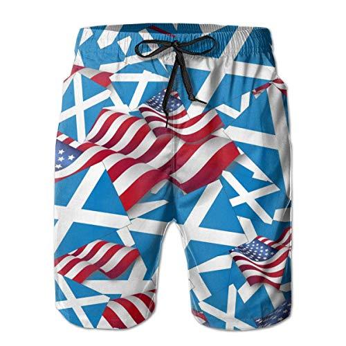 Mens Beach Shorts Quick Dry Surfing Badehose mit Taschen (Schottland Flagge mit Amerika Flagge) -
