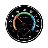 Lantelme 7580 Temperatur und Luftfeuchtemesser Kombigerät - Analog Thermometer und Hygrometer Farbe schwarz