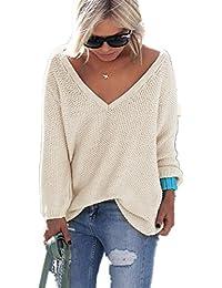be719aa61f YACOPO Damen Herbst und Winter Arbeiten lose mit Langen Ärmeln  V-Ausschnitt-PulloverSexy Pullover mit V-Ausschnitt Pulli tollen Farben…