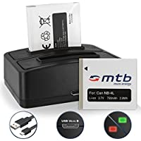 2 Batterie + Caricabatteria doppio (USB) NB-4L per Canon IXUS 30, 40, 55, 60, 65, 100 IS .../ Powershot ELPH 300 HS, 310 HS 330 HS… - v. lista