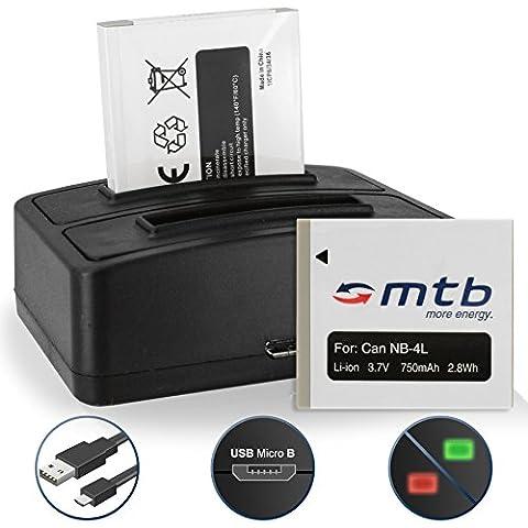 2 Akkus + Dual-Ladegerät (USB) NB-4L für Canon IXUS 30, 40, 55, 60, 65, 100 IS .../ Powershot ELPH 300 HS, 310 HS 330 HS… - s. Liste