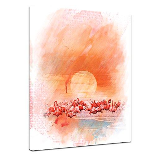 Leinwandbild Kunstdruck Reproduktion Aquarell - Flamingo III - Bild auf Leinwand 30 x 40 cm...