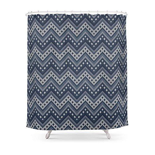 Suminla-Home Badezimmer Denim Zigzag Photocollage Duschvorhang 182,9cm von 182,9cm -