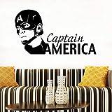 qwerdf Sticker Mural Captain American Mur Avengers Animé Silhouette Marvel Comics Mur D'intérieur Décoration Garçon Chambre Sticker Vinyle Autocollant 103 * 57cm