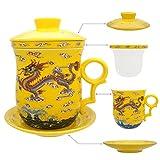 Hollihi Porcelaine Tasse à thé avec couvercle et soucoupe Infuseur Définit–Chinois Production de porcelaine à Céramique Mug à café thé Tasse de thé en vrac Système de préparation pour Home Office