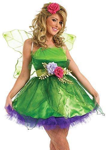 Damen Fee Nymphe Tinkerbell Fee Halloween Kostüm Outfit UK 6-26 Übergröße - Grün, (Kostüme Nymphe Halloween)