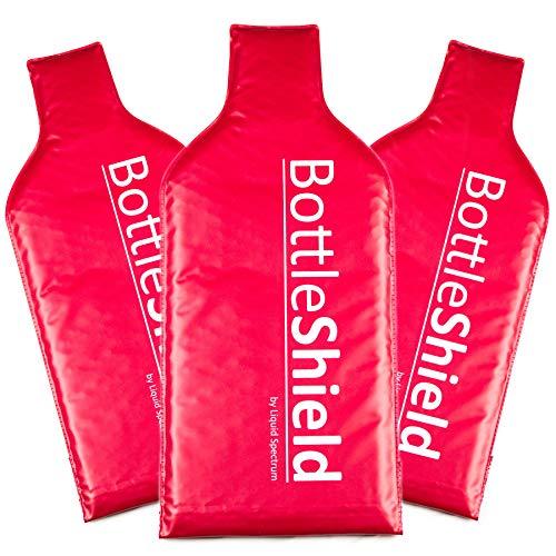 Bottle Shield Wiederverwendbare Weinschutz-Reisetasche, doppelschichtig, Luftpolsterfolie, mit Reißverschluss und unzerbrechlicher Flaschenhülle, auslaufsicher, Geschenk-Zubehör für Koffer, Gepäck
