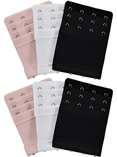 6 Pieces Women's Bra Extenders Elastic Stretchy Bra Extension Strap, 3 Colors (3 Rows x 4 Hooks)