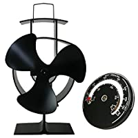 Lincsfire Silent Operation 3-Blade Stove Fan with Thermometer - Heat Powered Wood Log Burning Stove Fan Eco Friendly Heating