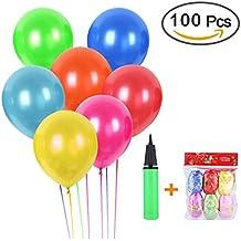 100 Globos de Fiesta de Colores Diversos con bomba,coloridos globos de látex de primera calidad decoración de la boda del globos para Bodas, Fiestas de Cumpleaños
