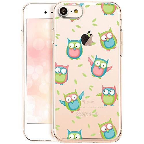 OOH!COLOR Schutzhülle Kompatibel mit iPhone 7 iPhone 8 Handyhüllen silikon Hülle Transparent Case dünn Tasche mit Motiv Vögel Eule