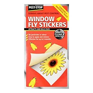 3x Window Sticky Fly Papers. Pack of 4 stickers - attracts & kills flies. No pesticides or odour from Caraselle