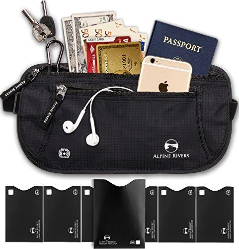 Alpine fiumi denaro cintura-RFID qualità premium con 7Bonus RFID maniche, Premium Black (nero) - AR-RFIDMB0CB