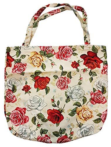 ILKADIM Einkaufstasche, Stofftasche Leinen 45 x 45cm, Motiv Rosen, Einkaufsbeutel Gobelin-Stil -
