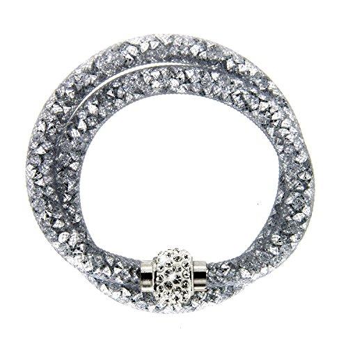 sweet deluxe 5739 Armband Senja in grau, Damen-Armband mit Magnetverschluss, Geburtstagsgeschenk für Frauen, Geschenkidee, Armreif für jede Anlass Hochzeit, Geburtstag, Abiball (Deluxe-armband)