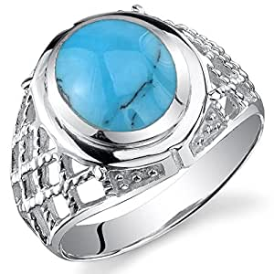 Revoni Men's Celtic Style Synthetic Turquoise Ring Sterling Silver with Rhodium Finish Size Z,