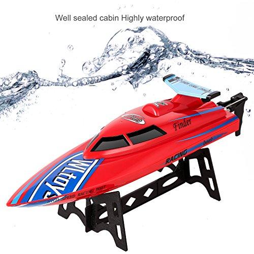 (DE Stock) Smibie 2,4 GHz RC Boote Electric Racing Boot 25KM / H High Speed Wasserdicht für Beginners Pools und Seen und Outdoor Adventure (Rot)