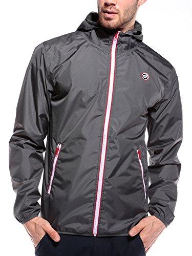 WOLDO Athletic Herren Regenjacke Windbreaker mit Kapuze durchgehendem Reißverschluss Seitentaschen...