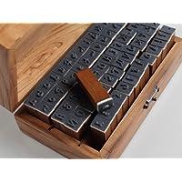 set di 70 pezzi stile vintage grafia numero di lettere dell'alfabeto in gomma di legno stamp Timbri - Stile Delle Lettere Set
