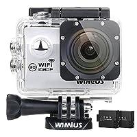 WiMiUS Action Camera HD 1080P 12MP 30M Underwater Cameras, Q2, Silver